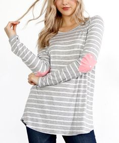 Heather Gray Stripe Heart Elbow-Patch Top #zulily #zulilyfinds