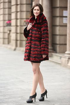 Adelaqueen Women's Red & Black Wave Stripe Fabulous Chinchilla Faux Fur Coat at Amazon Women's Coats Shop
