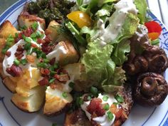 I know there is a potato on my plate, but my day was still under 60g of carbs, so I was happy. I always eat more carbs one day a week. We had blooming potatoes, steak with chimichurri, salad, and sautéed whole mushrooms. Yummy!