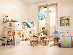 Micasa Kinderzimmer mit Halbhochbett (individuell zusammenstellbar), Kindertisch, Stuhl und Höhle aus dem Programm FLEXA Decoration, Bunk Beds, Toddler Boys, Kids Bedroom, Playroom, Art For Kids, Barn, Children, Furniture