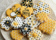 ≗ The Bee's Reverie ≗ bee cookies Bee Cookies, Galletas Cookies, Flower Cookies, Royal Icing Cookies, Cupcake Cookies, Sugar Cookies, Honey Cookies, Cookie Bouquet, Cookie Favors