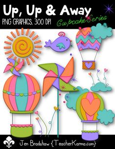 Clip Art:  Up, Up & Away graphics!  Perfect for Spring, Summer, Easter, Mother's Day, ANY DAY!  If you love rainbows, hot air balloons, and bright colors, you will LOVE this set!  TeacherKarma.com