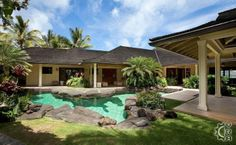 hawaiian style home plans modern plantation style house plans hawaiian style beach house plans Hawaii Vacation Rentals, Vacation Villas, Oahu Rentals, Plantation Style Homes, Hawaiian Homes, Oahu Hawaii, Kailua Oahu, Hawaii Pics, Swimming Pools