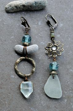 A pair of OOAK Asymmetrical earrings. Copper brass Sea glass Ethnic glass beads Czech glass beads Prehnite Beach stone About 9 cm. For more Bohemian jewelry, please visit my shop :) https://www.etsy.com/shop/IsadorasDream