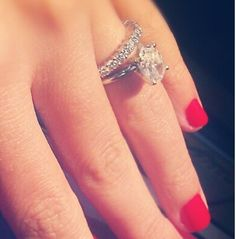 Like this idea too! Allows for large engagement ring but a pretty touch with the diamond band for the wedding ring!