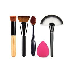 4 Makeup Brushes Blusher Powder Flat Contour Face Toothbrush 1 Sponge Puff *** More info could be found at the image url.