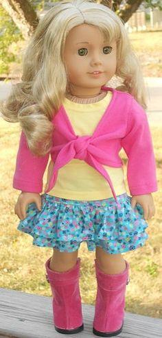 Corduroy Print Skirt, T-shirt & Wrap-Style Top For American Girl Or Similar 18-Inch Dolls. $29.99, via Etsy.