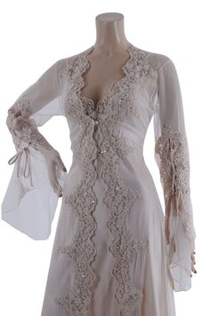 Aljalabiya.com: Long plain Tulle bride's nightwear with beads (BM-2896) $166.00