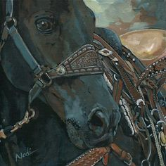 "Daily Paintworks - ""14/92 Black Roping Horse"" by Nadi Spencer"