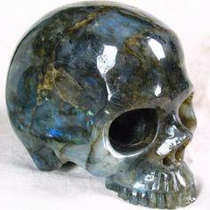 labradorite | Labradorite Gems And Minerals, Crystals Minerals, Crystals And Gemstones, Stones And Crystals, Cool Rocks, Crystal Skull, Rocks And Gems, Skull And Bones, Skull Art