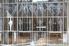 Etched Glass West Screen - new Coventry Cathedral - England -The old Cathedral ruins can be seen reflected in the glass screen