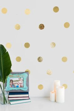 Gold Confetti Dots Wall Art- Gold gift-cl