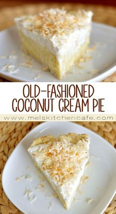 Apple Discover Old-Fashioned Coconut Cream Pie - Mels Kitchen Cafe Classic coconut cream pie. Really there may not be a better pie-for-all-occasions. Coconut Desserts, Coconut Recipes, Just Desserts, Baking Recipes, Delicious Desserts, Pie Dessert, Dessert Recipes, Good Pie, Cream Pie Recipes