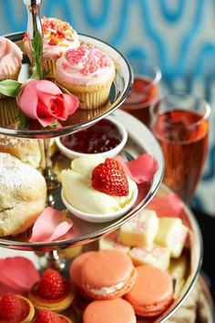 'Tiered Delights' said previous pinner of afternoon tea, note the strawberry looks like a love heart • for Erdem Deniz's inspired board, a lover of Tintin, a good time to have a break for afternoon tea! • riawati • I have since deleted the original board, only because the food was too full of sugar