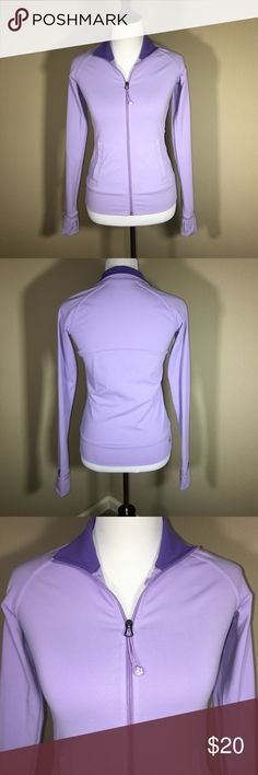 Athletics Full Zip Jacket Like new, excellent condition. Athletic jacket by Tuff Athletics. Same features as Lulu Lemon. Has Cuffins and Thumbholes, and an opening in the inner pocket to put your iPod cord through. Lilac color. 💜 Offers welcome. 20% off bundles! Tuff Athletics Jackets & Coats