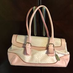 Coach purse and wallet NWOT BOTH 100% authentic Both NWOT authentic pink Coach single magnetic hatch purse and matching triple sided wallet!  Perfect for summer and lightning up your wardrobe. Gorgeous for purse and wallet  Coach Bags Shoulder Bags