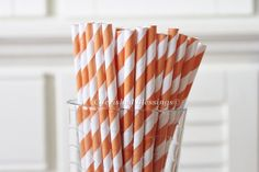 50 Orange Paper Straws Striped  Retro by CherishedBlessings, $7.79