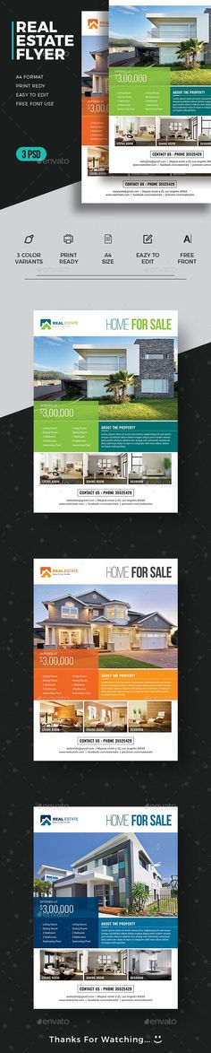 Real Estate Flyer Design Template - Commerce Flyers Design Template PSD. Download here: https://graphicriver.net/item/real-estate-flyer/19397143?ref=yinkira