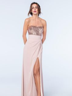 A stunning bustier and skirt combination from the Watters Bridesmaids collection. The bustier has been beautifully designed with Eclat sequins and has been paired with a matching pale pink tulip split skirt. Product name Annette Bustier 2307 in Rosegold and Natasha Skirt 2508 in Buff.  View more Bridesmaid dresses from our Watters collection at: http://www.baroqueboutique.co.uk/bridesmaids/  Photographs courtesy of: https://www.watters.com/watters/bridesmaids/