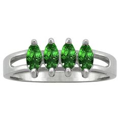 10k White Gold Designer 4-stone Marquise-cut Birthstone Ring (Size 8.0 May Emerald), Women's, Green