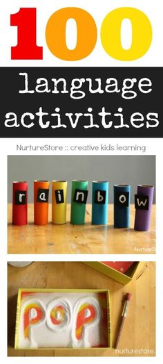 100 language activities : multi-sensory learning techniques such as alphabet, spelling, sight words, creative writing, storytelling and more! Kindergarten Literacy, Early Literacy, Literacy Activities, Preschool Language Activities, Literacy Centers, Spelling Activities, Spelling Practice, Early Learning, Kids Learning