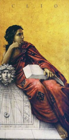 Clio (also spelled Kleio) is the Muse of history, and sometimes lyre playing. Painting by Jose Luis Munoz Luque. Greek And Roman Mythology, Greek Gods, Clio Musa, Woman Reading, Gods And Goddesses, Archetypes, Pop Art, Lady In Red, Illustration