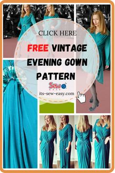 This vintage evening gown pattern will have heads turning every time you wear it. Instead of making the dress from scratch, you can upcycle a cheap dress you see in the thrift shop and turn it into a chic and elegant gown. With a few adjustments here and there, you can make the dress to suit your body size. With this pattern, you can make a dress that you will want to wear every chance you get. #eveninggownpatterns#sewingpatterns#gownsewingpatterns#vintagegownpatterns#sewingvintagegowns Formal Dress Patterns, Unique Formal Dresses, Sewing Patterns Free, Vintage Patterns, Free Sewing, Cheap Dresses, Prom Dresses, Evening Gown Pattern, Vintage Evening Gowns
