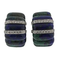 Preowned David Webb Azurmalachite Diamond Gold Platinum Earrings ($9,800) ❤ liked on Polyvore featuring jewelry, earrings, multiple, gold diamond earrings, yellow gold diamond earrings, yellow gold earrings, diamond jewelry and platinum earrings