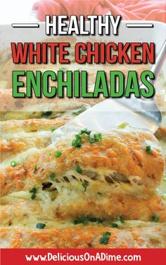 These Healthy White Chicken Enchiladas are one of our family's favorite main dishes. Easy to make and a total crowd-pleaser, they use yogurt instead of sour cream to make a creamy white sauce (with tangy green chilis). Everyone loves them! Authentic Mexican Recipes, Mexican Food Recipes, Dinner Recipes, Healthy Recipes, Cheap Recipes, Healthy Drinks, Healthy Food, Healthy Eating, Churro