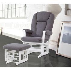 Dutailier Grey and White Glider Rocking Chair with Glider Ottoman (White/Dark Grey Modern Glider & Ottoman Combo), Gray