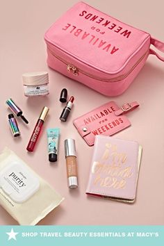 Get your beauty bag ready for you next weekend getaway with travel-friendly beauty essentials. From pint-sized primers and liquid-free foundation to little lipsticks and mini mascaras, you'll never have to leave home without your makeup must-haves again. Click to shop at Macy's.