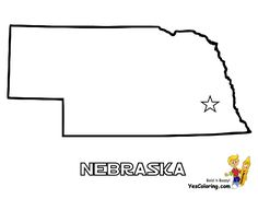 State Of Nebraska Map Coloring Page Nebraska Pinterest - State map of nebraska