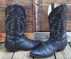 Vintage SHEPLERS Black Leather Rockabilly Western Cowboy Boots Men's 10D #Sheplers #CowboyWestern