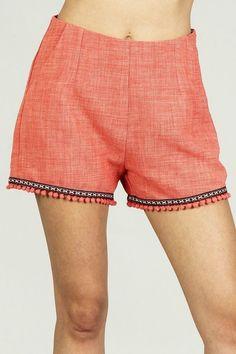 0b652ee8f0 Womens High Waist Fringe Short Size S Orange Tribal Pleated Casual Pom Pom  Pant  shorts