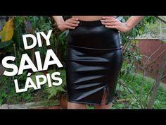 50e7449704 DIY Como fazer saia lápis de couro sintético em 30 minutos