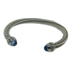 Designer Cable Style Bracelet with Aqua CZ stone and diamond tips