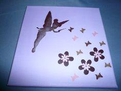 """tableau pour chambre de fille """"fée, papillon et fleurs"""" : Décoration pour enfants par la-caverne-a-martine"""