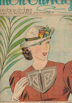 Mon Ouvrage women's needlework magazine - June 1937 spring crochet accessories pattern issue - French 30s vintage