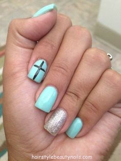 Teal Nails With Accent Cross And Silver Nail Normally Not A Fan Of Such Y But This Is Cute Love The Color