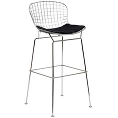 The minimal nature of this CAD Wire Side Chair is an asset for any lover of modern furniture. A simple yet stylish design evoking the height of modern classic design. As comfortable as it is attractive, this is the sort of accent chair that starts convers Wire Bar Stools, Black Bar Stools, Leather Bar Stools, Modern Bar Stools, Counter Stools, Counter Top, Kitchen Stools, Kitchen Island, Black Stool