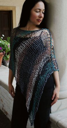 Very easy knitting pattern, quick knitting, great for beginners. Knitted fabric is stretchy and finished poncho can fit most sizes easily. Skills needed Poncho Knitting Patterns, Knitted Poncho, Loom Knitting, Knit Patterns, Free Knitting, Knitted Fabric, Knit Shrug, Ribbon Yarn, Knitting For Beginners