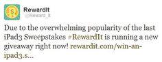 Whaaaat?! New #iPad3 Giveaway right now?! Do it! http://www.rewardit.com/win-an-ipad3.shtml