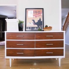 If you follow me, you know that I do lots of these mid century pieces for customers. A quick product list (visit my website for a detailed step by step and for a complete list of products used on these pieces): Benjamin Moore paint, Restore A Finish, Genenal Finishes High Performance Top Coat.