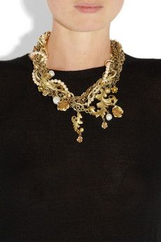 DOLCE & GABBANA  Gold-plated glass pearl necklace
