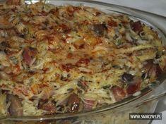 Super zapiekanka na sobotni obiadek. Smacznego! http://www.smaczny.pl/przepis,zapiekanka_makaronowa_z_boczkiem_i_pieczarkami #przepisy #daniagłówne #makaron #pieczarki #wędzonyboczek #obiad