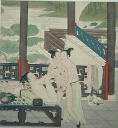 """From a series of Qianlong paintings. (1796-1820) Possibly illustrations of Hong Lou Meng """"The Dream of the Red Chamber"""" or """"Story of the Stone"""") we observe a threesome of the kind seen often in the erotic prints. Here is takes place on a porch overlooking a lotus pond. One woman, behind, whom the man turns his head to kiss, grasps his penis and guides it into the other woman lying down who is clearly younger, with a smaller body frame and only budding breasts."""