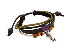 Leren Armband - Leren armband uit Tibet met 'LOVE' bedeltje