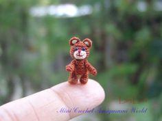 Teddy Bear_Dollhouse Miniature_Handmade Amigurumi_Stuffed Animal_Micro 2/3 inch