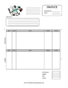 A Printable Service Invoice It Has Room For Detailed Descriptions - Work hours invoice template