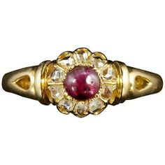 Preowned Antique Victorian Ruby Diamond 18 Carat Ring, Circa 1900 ($1,570) ❤ liked on Polyvore featuring jewelry, rings, multiple, wedding rings, anniversary rings, cushion cut wedding rings, ruby diamond ring, antique ruby rings and pre owned diamond rings